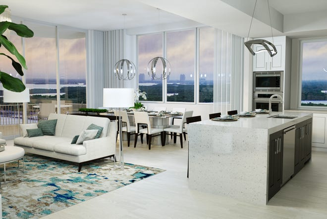 The Grandview at Bay Beach high-rise will feature 58 open-concept residences ranging from 2,400 to 2,900 square feet with three or four bedrooms, dens, three or three and a half bathrooms, and private elevator access.