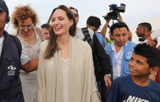 United Nation's High Commissioner for Refugees' special envoy Angelina Jolie meets with Venezuelan migrants at a United Nations-run camp in Maicao, Colombia, on border with Venezuela, Saturday, June 8, 2019. Jolie visited the camp to learn more about the conditions faced by migrants and refugees and raise awareness about their needs.
