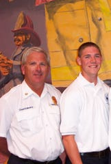 Ret. Hebron Fire Chief Randy Weekly (left) and his son, Jeremy Weekly.