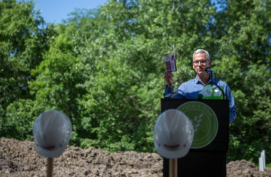 Jay Highman, founder and CEO of Nature's One, welcomes guests to Tuesday's groundbreaking ceremony at the Central Ohio Aerospace and Technology Center in Heath.