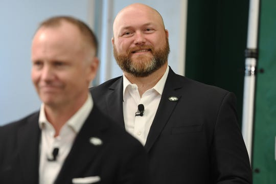 The Jets practice at the Atlantic Health Jets Training Center in Florham Park on Tuesday, June 11, 2019. General Manager Joe Douglas.