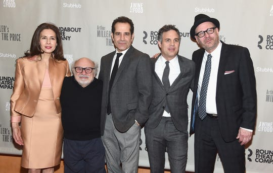 "(L-R) Jessica Hecht, Danny DeVito, Tony Shalhoub, Mark Ruffalo and Terry Kinney attend the Arthur Miller's ""The Price"" Broadway Opening Night at American Airlines Theatre on March 16, 2017 in New York City. Hecht is scheduled to star in a tragic romance called ""The Atlantic City Story,"" which is one of the four films receiving money through New Jersey's tax program."