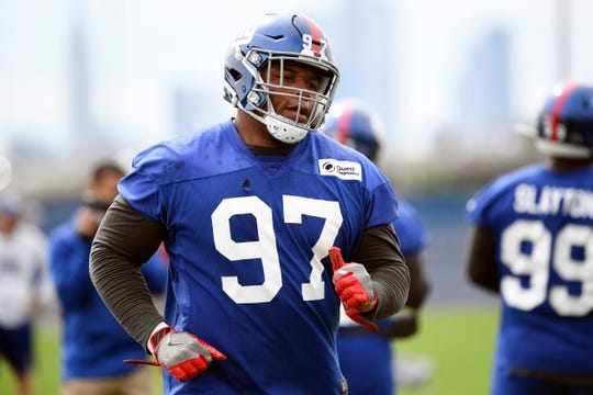 New York Giants defensive lineman Dexter Lawrence on the field for OTAs on Tuesday, June 11, 2019, in East Rutherford.