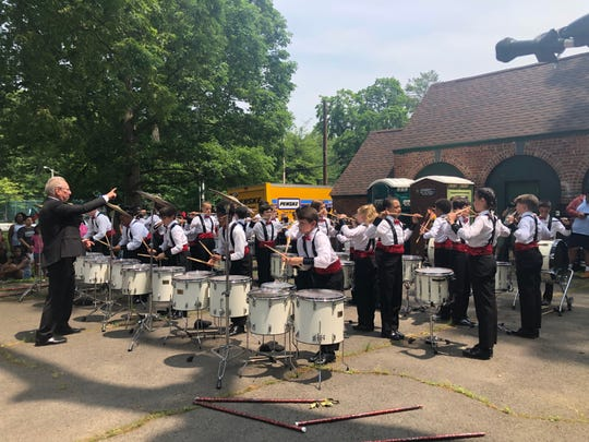 "Lou D'Amico conducting the ""Drums of Thunder"" of Montclair's Hillside elementary school at Nishuane Park's African American Heritage Day festival. June 1, 2019."