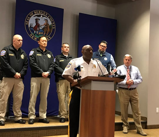 Bergen County Sheriff Anthony Cureton at a press conference in Hackensack June 11, 2019 about a mumps outbreak at Bergen County Jail.