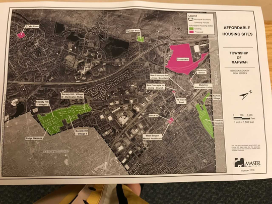 Mahwah's affordable housing sites including existing developments in green, and proposed sites in magenta.