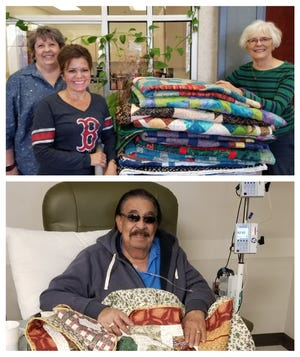 In the top photo, Carolyn Diaz, center, receives quilts from Sandy Koehler, left, and guild member Linnea Egbert at the Fresenius Kidney Care Center. In the bottom photo, Mr. Lopez received his new quilt as he was receiving his chemotherapy.