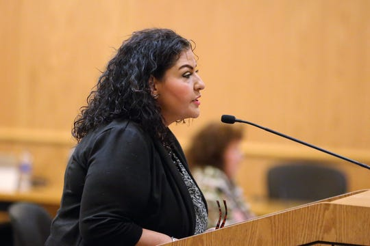 Doña Ana County Clerk Amanda López Askin speaks to the board of commissioners during their meeting on Tuesday, June 11, 2019.