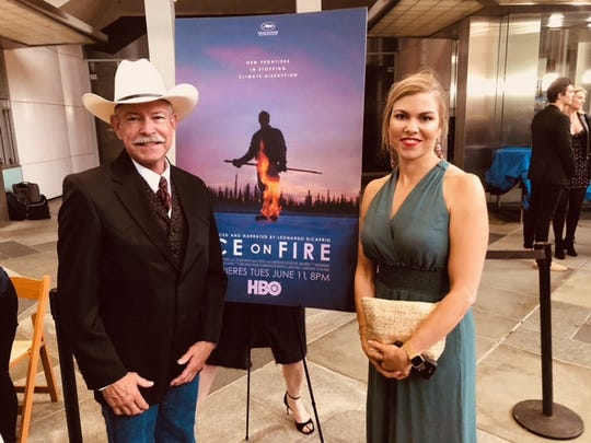 "Don Schreiber and his daughter Suzanne Schreiber are featured at the premiere of the documentary ""Ice on Fire"" at the Bing Theater in Los Angeles on June 5."
