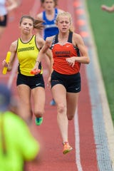 Northville's Olivia Harp in the 4 x 800 relay.