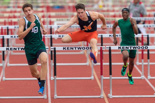 Northville's Ben Shuart in the 110-meter high hurdles.