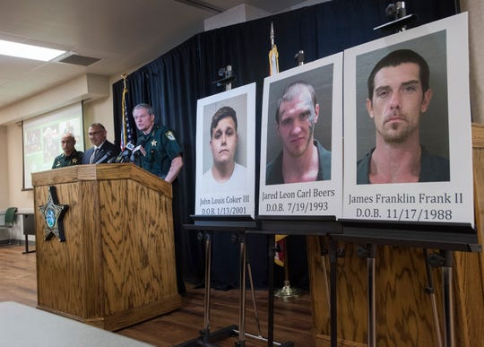 Escambia County Sheriff David Morgan announces that three suspects have been arrested in three shootings in Escambia County at a news conference Tuesday.