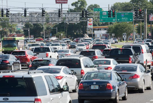 Heavy traffic makes its way along North Davis Highway near the intersection of Olive Road in Pensacola on Tuesday.