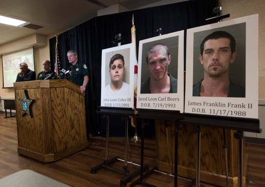 Escambia County Sheriff David Morgan announces the arrests of three suspects in connection to three shootings in Escambia County at a news conference Tuesday.