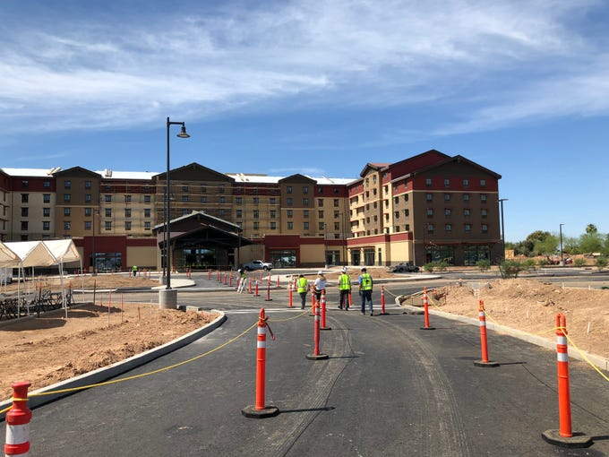 Outside of the Great Wolf Lodge Arizona. The resort will now open Sept. 27.