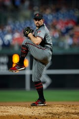 Arizona Diamondbacks' Zack Godley in action during a baseball game against the Philadelphia Phillies, Monday, June 10, 2019, in Philadelphia.
