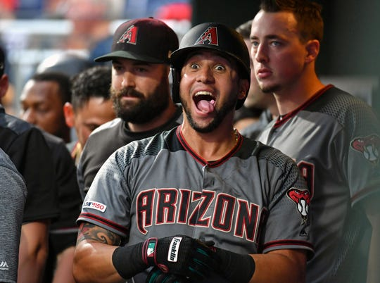 Jun 10, 2019: Arizona Diamondbacks right fielder David Peralta (6) celebrates his home run inside the dugout during the first inning against the Philadelphia Phillies at Citizens Bank Park.