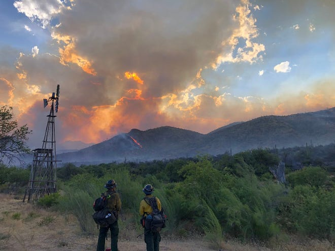 The Woodbury Fire is burning in the Superstition Wilderness area about 5 miles northwest of Superior.