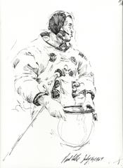 """Neil Armstrong Suiting Up"", 1969, pen and ink by Paul Calle"