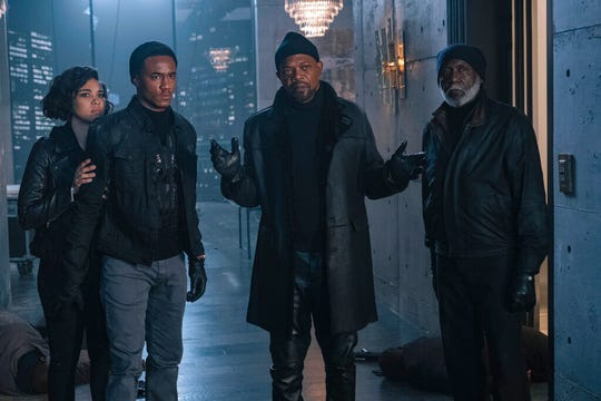 "From left, Alexandra Shipp, Jessie Usher, Samuel Jackson and Richard Roundtree star in ""Shaft."" The movie opens Thursday at Regal West Manchester and Frank Theatres Queensgate Stadium 13."