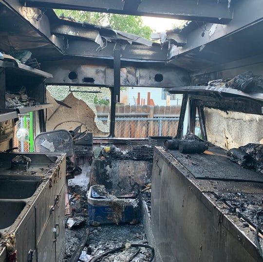 The interior of the Nom Eats vegan food truck that burned on the evening of June 10, 2019. The fire might have been caused by the spontaneous combustion of rags damp with vegetable oil.
