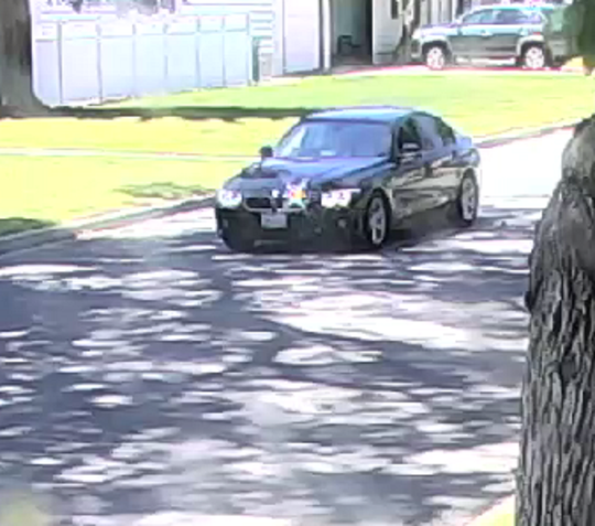A photo taken on June 8, 2019,  from a security camera showing a black BMW four-door sedan involved in a suspicious incident in Carson City.