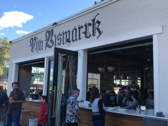 Before its June 13, 2019, opening, Von Bismarck restaurant hosted a friends-and-family evening June 7 at which the windows were rolled up for indoor-outdoor socializing.