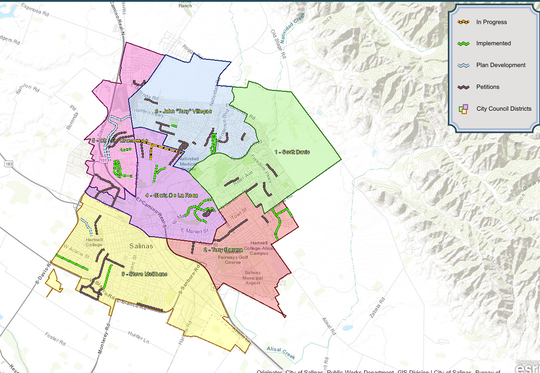This map, from the City of Salinas website, shows the status of various traffic calming projects in Salinas as of June 2019.
