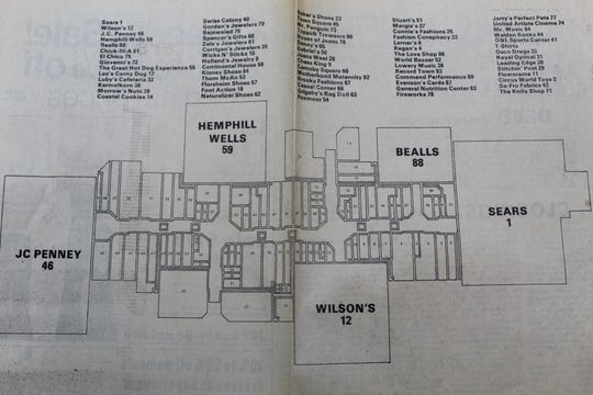 A map of what Sunset Mall offered in its opening year, 1979.