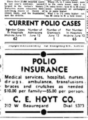 Advertisements for polio insurance became a regular sight in the San Angelo Standard-Times during the summer of 1949, as the city battled a major outbreak of polio.