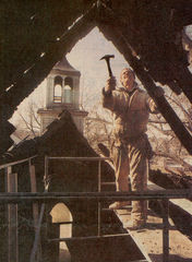 Gregg Beldin of Rutten Construction removes the damaged church roof after a February 1995 fire. Beldin's grandfather, Clayton Beldin, was a former preacher at the church, according to a March 1995 Argus Leader article.