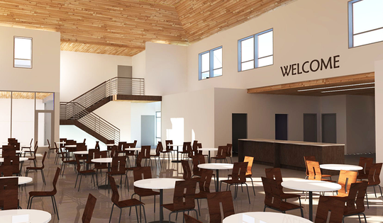 A rendering shows the expanded dining room planned for the updated St. Francis House, currently under construction.