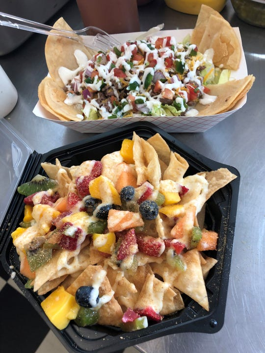 Nachos and fruit nachos offered by Krazy Concessions