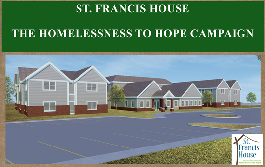 A poster for St. Francis House's fundraising campaign, which shows a rendering of the updated shelter.
