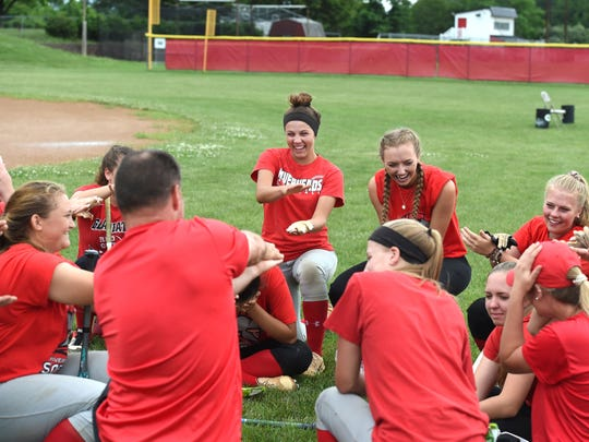 Riverheads players have some fun after Monday's practice. The team is preparing to play in the Class 1 softball semifinals Thursday at Radford University.