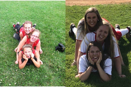 Faith Christian (bottom), Emily Walters (middle) and Allie Campbell (top) as 8-year-old softball teammates (left) and as high school seniors.