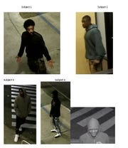 The five persons of interest in connection with the arcade shooting.