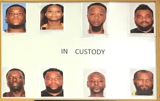 Gadsden Sheriff Morris Young displayed these mug shots of those arrested in the drug and dog fighting ring.