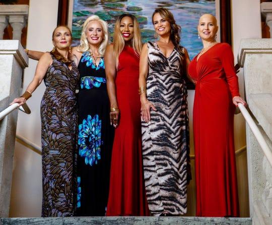 Models Nadja Ricci, left, Christine Hughes, Lewana Dupree, Dana Hagood and Kim Nardone at the Jazz, Art and Fashion show benefiting New Horizons of the Treasure Coast.