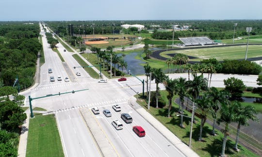 An aerial view looking east along Jensen Beach Boulevard in Jensen Beach show the property of Jensen Beach High School to the right. Beginning June 17, Jensen Beach Boulevard east to Savannah Road will undergo $5.3 million in improvements, including road resurfacing, restriping of bike lanes and upgrades to drainage, curb ramps and guardrails.