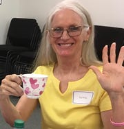 Leslie Arendt enjoys a cup of tea at the 2019 Volunteer Appreciation Afternoon Tea for Friends After Diagnosis in Vero Beach.