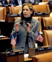 New York state Assemblywoman Amy Paulin speaks in Albany.