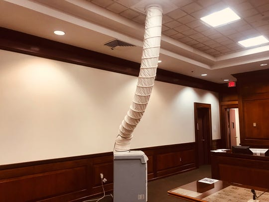 Portable air conditioning unit in Mount Vernon city courtroom