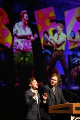 From left, Ethan Slater and Danny Skinner host the 21st annual Metro Awards which honor achievements in high school musicals from Bergen, Putnam, Rockland and Westchester counties at Purchase College on June 10, 2019.