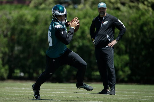Eagles wide receiver Mack Hollins during a drill at the team's practice facility Tuesday.