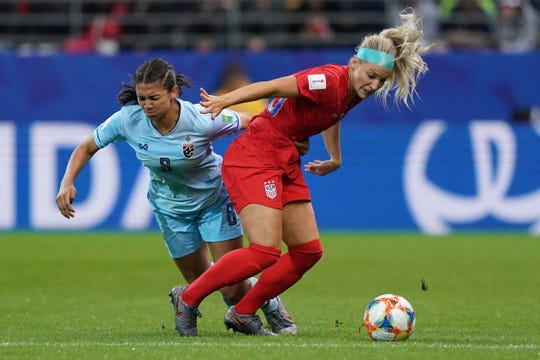 United States' midfielder Julie Ertz (R) vies for the ball with Thailand's forward Suchawadee Nildhamrong during the France 2019 Women's World Cup Group F football match between USA and Thailand, on June 11, 2019, at the Auguste-Delaune Stadium in Reims, eastern France.