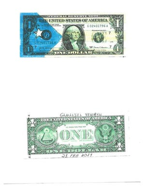 """A copy of the front and back of a """"ride dollar"""" is shown. Ten of these decorated dollars were recovered from a Stripes convenience store across just outside Sheppard Air Force Base. Personnel at the base have reported that at least 82 such dollars were stolen and they are attempting to recover them."""