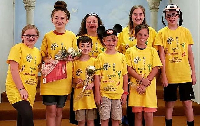 Participants in the musical theater workshop at Perry County Calvary Arts Center were Lydia Rupe, Evie Swick, Jameson Swick, Riley Spring, Cadin Dalrymple and Sam Rupe. In the back are instructor Megan Mason and helper Jolee Caton.