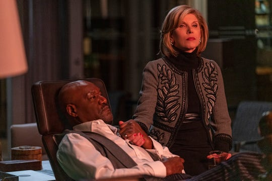 "Delroy Lindo as Adrian Boseman and Christine Baranski as Diane Lockhart on ""The Good Fight."""
