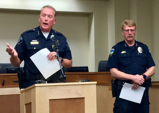 Woods Cross, Utah, Police Chief Chad Soffe, left, and Centerville Police Chief Paul Child speak at a news conference Monday, June 10, 2019, in Woods Cross.